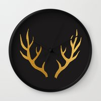 antler Wall Clocks featuring ANTLER by crisunplugged