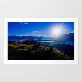 lake wanaka covered in blue colors new zealand beauties and mountains at sunrise Art Print
