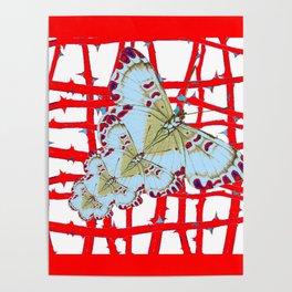 RED-WHITE MOTHS  IN SYNCHRONIZED FLIGHT Poster