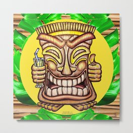 Happy Tiki On Yellow Disc & Leaves Metal Print