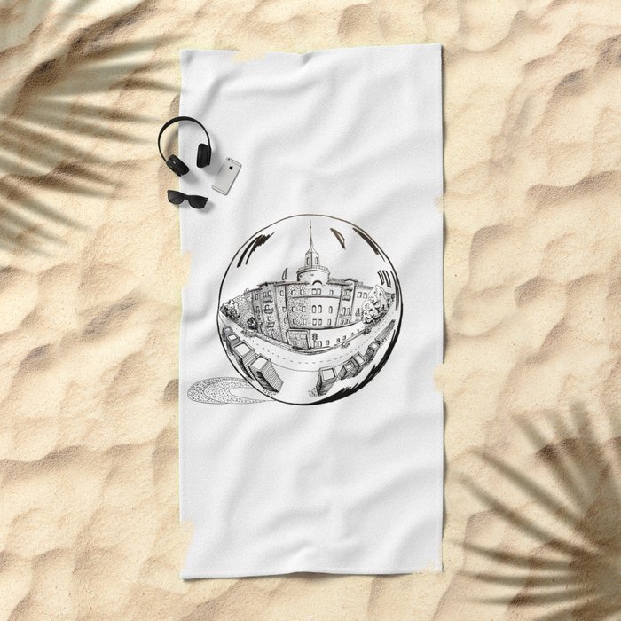 City in a glass ball . Art Beach Towel