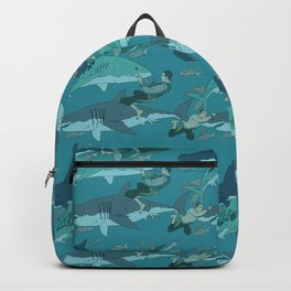 Sharks Pattern Backpack