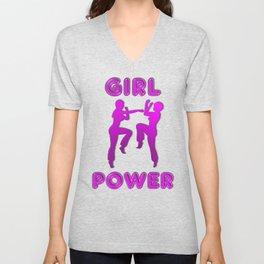 Girl Power Martial Arts Sparring Females Unisex V-Neck