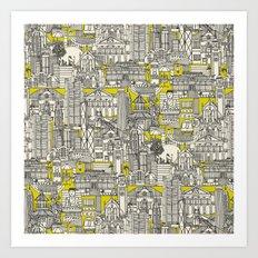 Hong Kong toile de jouy chartreuse Art Print
