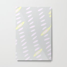 Geo Flow Gray Pink Yellow Metal Print