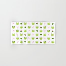 Frogs, Dragonflies and Lilypads on White Hand & Bath Towel