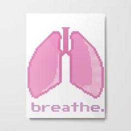 Breathe. Pixelated Lungs Metal Print