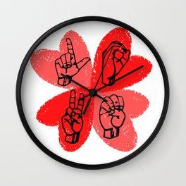 Love Sign Language Pink Hearts Wall Clock