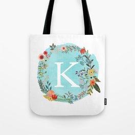 Personalized Monogram Initial Letter K Blue Watercolor Flower Wreath Artwork Tote Bag