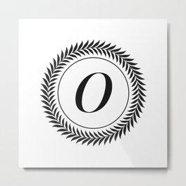 Monogram Laurel Wreath Design in White - Letter O Vector Metal Print