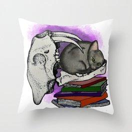 Past Meets Present - Kitten Throw Pillow