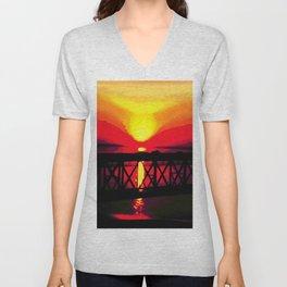 Sunset On The Bay Bridge Unisex V-Neck