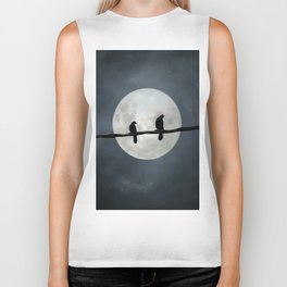 Two Crows In The Light Of A Silvery Moon Biker Tank