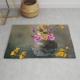 Japanese Stone Vase and Flowers Rug