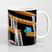 donkey kong Mugs featuring Inside Donkey Kong stage 2 by Metin Seven