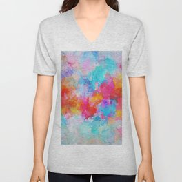Cloudy Abstract Painting- Colorful Art Unisex V-Neck