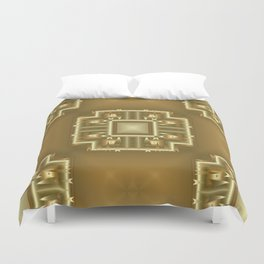 Gold and Cream Geometric Pattern  Duvet Cover