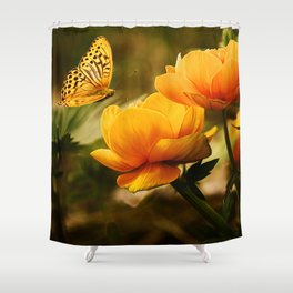 Orange Butterfly Hovering over Blooming Flowers Shower Curtain