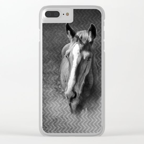 Horse emerging from the mist Clear iPhone Case