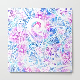 Purple Blue Teal White Hand Drawn Flowers Doodle Metal Print