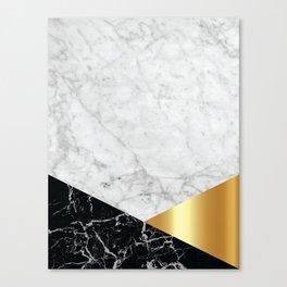 White Marble Black Granite & Gold #944 Canvas Print