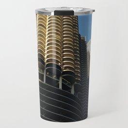 blue sky + marina towers chicago 1 Travel Mug