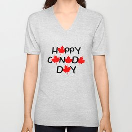 Happy Canada Day Maple Leaf Letters  Unisex V-Neck
