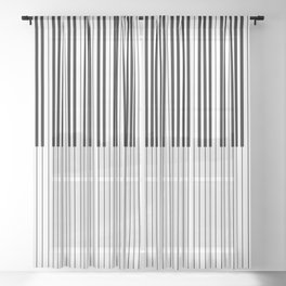 The Piano Black and White Keyboard Stripes with Vertical Stripes Sheer Curtain