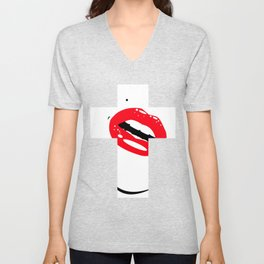 Cross Lips Unisex V-Neck