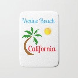 Venice Beach California Palm Tree and Sun Bath Mat