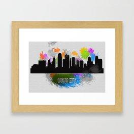 Kansas city skyline silhouette Framed Art Print
