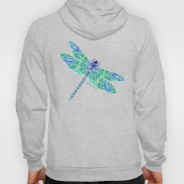 Tribal Dragonfly Blues and Greens Hoody