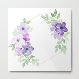 Meraki Hexagon Floral Wreath Metal Print