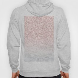 Pink Rose Gold Glitter and Marble Hoody