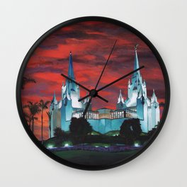 San Diego LDS Temple at Dusk Wall Clock