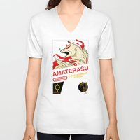 okami V-neck T-shirts featuring NES Okami by IF ONLY
