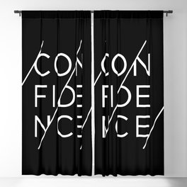 Confidence - white ink on black Blackout Curtain