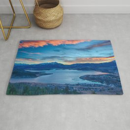 Lakeside Sunset // Mile High Rocky Mountain Orange and Blue Sky Rug