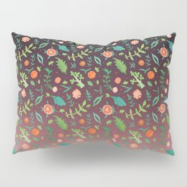Black an red copper blend backdrop, with red flowers and green leaves Pillow Sham