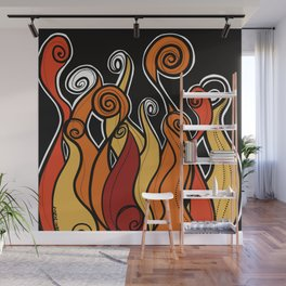 Flames on fire Wall Mural