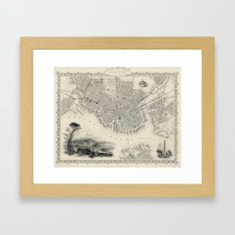 Vintage Map of Boston MA (1838) Framed Art Print