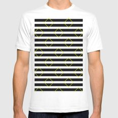 Black And White Stripes And Yellow Squares Pattern Mens Fitted Tee MEDIUM White