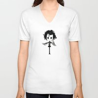edward scissorhands V-neck T-shirts featuring EDWARD SCISSORHANDS by Raimondo Tafuri