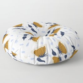Gold and White Flowers with Blue Floor Pillow