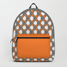 Gray Orange Geometrical Pattern Backpack