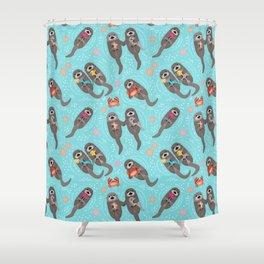 Otters Playing - Aquamarine Background Shower Curtain