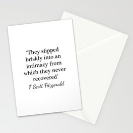 Slipped briskly into an intimacy - Fitzgerald quote Stationery Cards