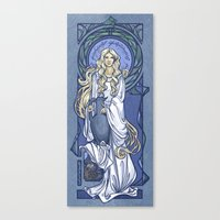 nouveau Canvas Prints featuring Galadriel Nouveau by Karen Hallion Illustrations