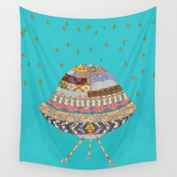 spaceship Wall Tapestries featuring My Spaceship Will Come by Bianca Green