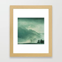 Turquoise Green Monochromatic Mist Misty Pine Forest Field Landscape Framed Art Print